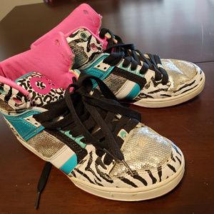 Pink, Blue, Zebra Print Osiris Skate Shoes